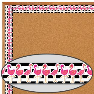 Simply Stylish Tropical Flamingo Border