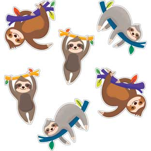 One World Sloth Colorful Cutouts  Assorted