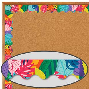 One World Colorful Leaves Scalloped Border