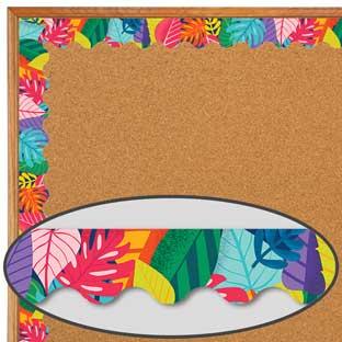 One World Colorful Leaves Scalloped Border - 1 border trim