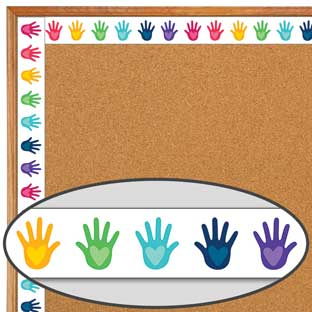 One World Hands With Hearts Straight Border
