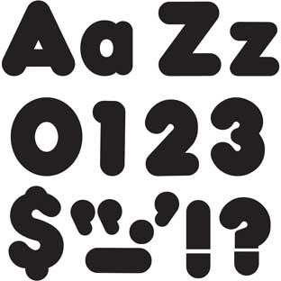 "Black 4"" Casual Uppercase/Lowercase Letters"