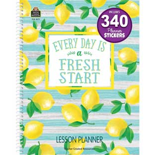 Lemon Zest Lesson Planner Book - 1 planner, 340 stickers