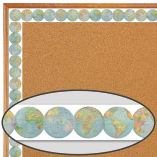 Travel The Map Globes Diecut Border Trim