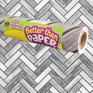 Better Than Paper Bulletin Board Roll  White and Gray Herringbone