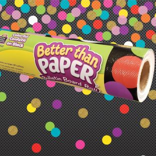 Better Than Paper Bulletin Board Roll  Colorful Confetti On Black - 1 roll