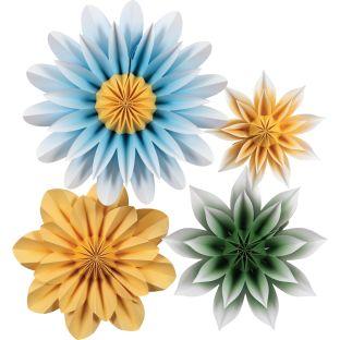 Floral Sunshine Paper Flowers - 4 paper flowers