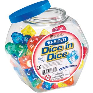 Ten-Sided Dice In Dice - 72 dice