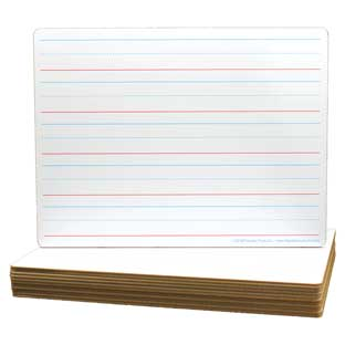 "9""X12"" Double-Sided Non-Magnetic Primary Lined Dry Erase Boards  12 Pack  Made in the U.S.A"