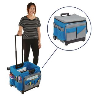 Universal Rolling Cart and Canvas Organizer - Blue/Grey