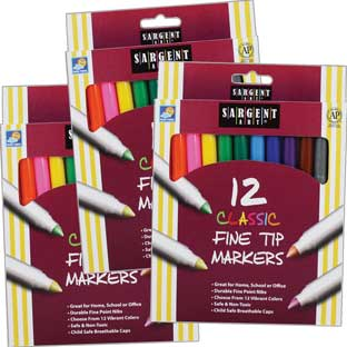 Sargent Art 12ct. Classic Fine Tip Markers - 3 Boxes