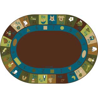 Nature's Colors Learning Blocks Carpets - Oval 6'x 9' - 1 carpet
