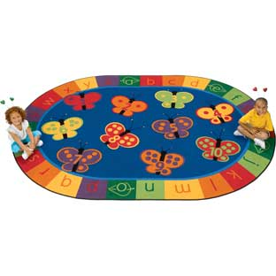 123 ABC Butterfly Fun Carpets - Oval 8'x 12' - 1 carpet