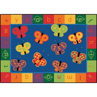"123 ABC Butterfly Fun Carpets - Rectangle 3'10""x 5'5"" - 1 carpet"