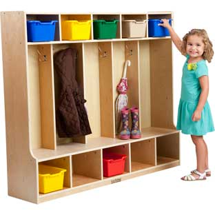 5-Section Birch Coat Locker With Bench - 1 unit