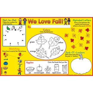 We Love Fall! Activity Mats - 32 mats