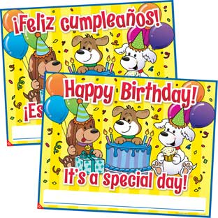 Happy Birthday Posters - English and Spanish - 1 poster