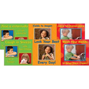 Good Hygiene Mini Posters Set - English/Spanish