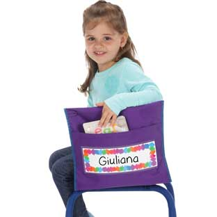 Preschool Chair Pockets - 6 chair pockets, 6 name tags