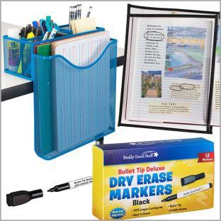 Dry Erase Sleeves and Desk Organizer Bundle