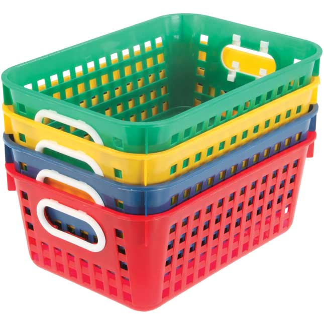 Book Baskets, Medium Rectangle - Primary Colors