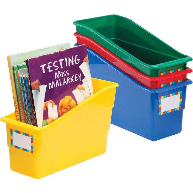 Durable Book And Binder Holders - Primary Colors - 4 bins