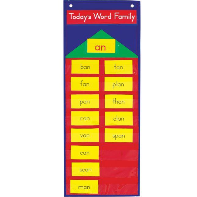 Word Family Pocket Chart™ - 1 pocket chart, 385 cards