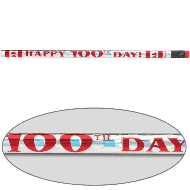 Happy 100th Day Pencils - set of 12 pencils.