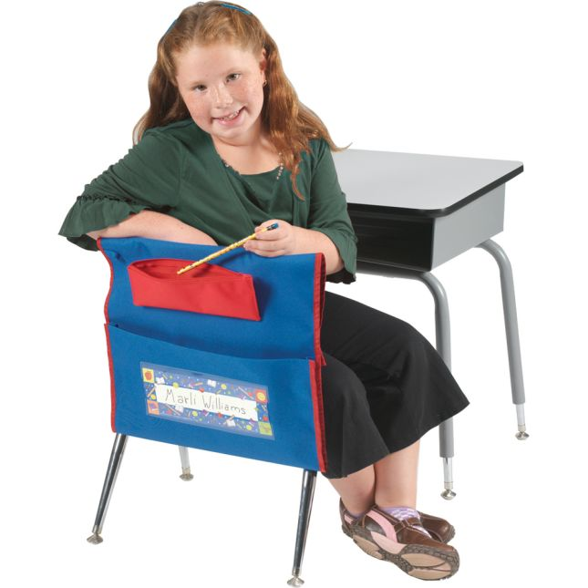 Deluxe Chair Pockets with Pencil Case - 6 Pack - Blue/ Red