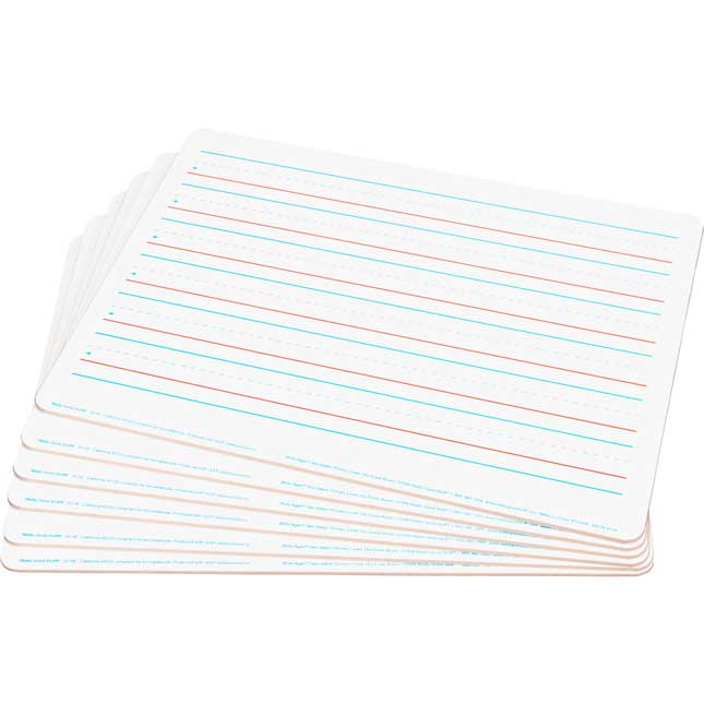 """Two-Sided Dry Erase Boards - 9"""" x 12"""" - Set of 6 - Primary Lined One Side & Blank Other Side"""