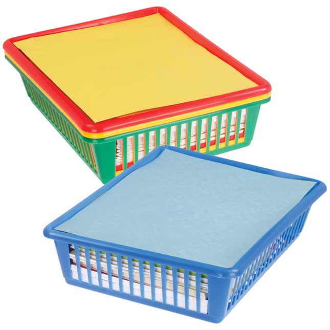 Oversized Paper And Folder Baskets - Primary Colors - 4 baskets