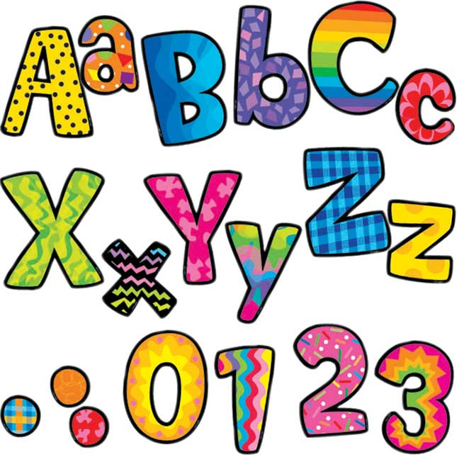 "Bright Patterned 4"" Letters"