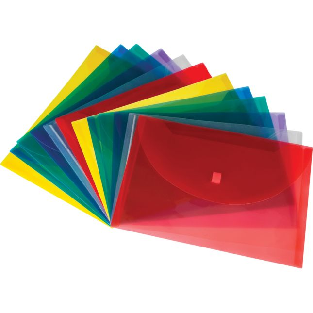 Homework Envelopes with Velcro Closure - 12 Pack