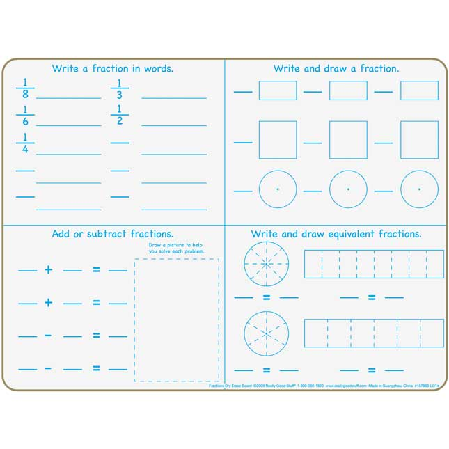 Fractions Dry Erase Board Set