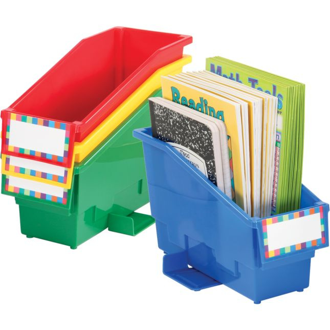 Book And Binder Holder With Stabilizer Wing And Label Holder™ – 4-Pack