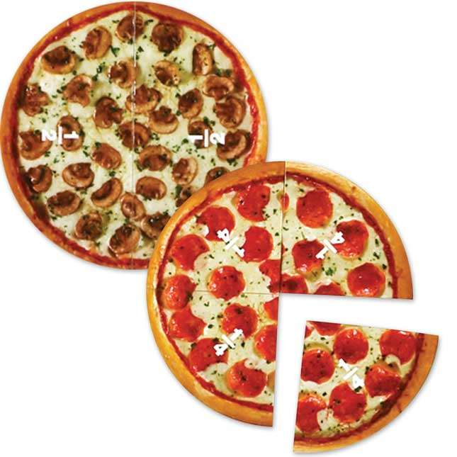 Magnetic Pizza Fractions - 6 pizzas, 24 slices