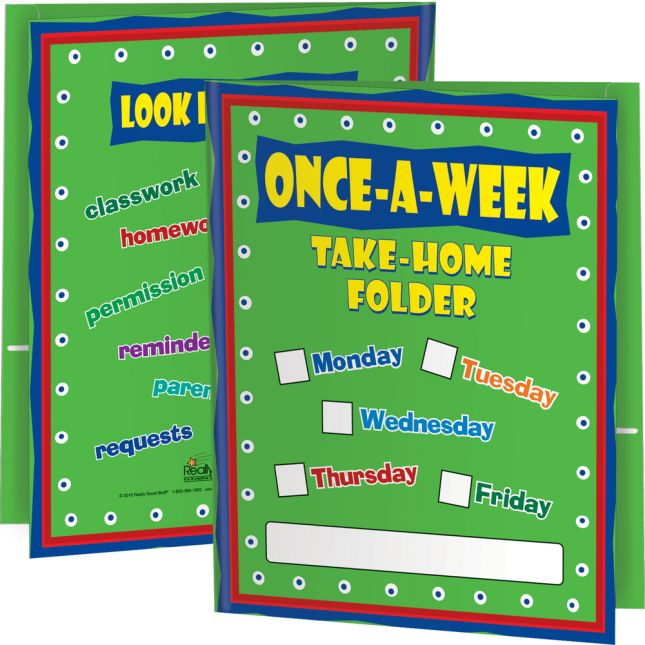 Once A Week Take Home Folders - 2 Pocket - 12 Pack