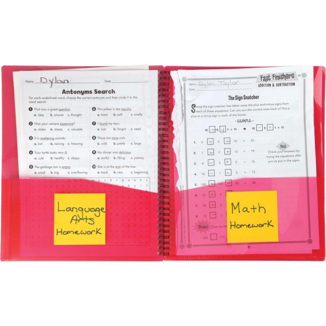 Student Homework Folder Organizers - 8 Pocket - 4 Pack