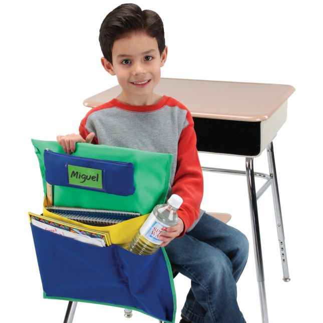 Deluxe Multi-Pocket Chair Pockets with Pencil Case and Water Bottle Holder - 6 Pack - Green/ Blue