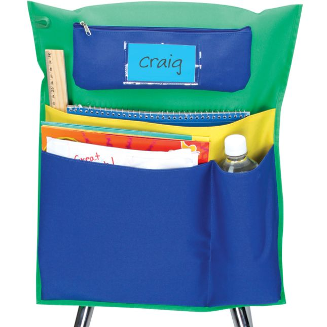 Deluxe Multi-Pocket Chair Pockets with Pencil Case and Water Bottle Holder - 150 Pack - Green/ Blue