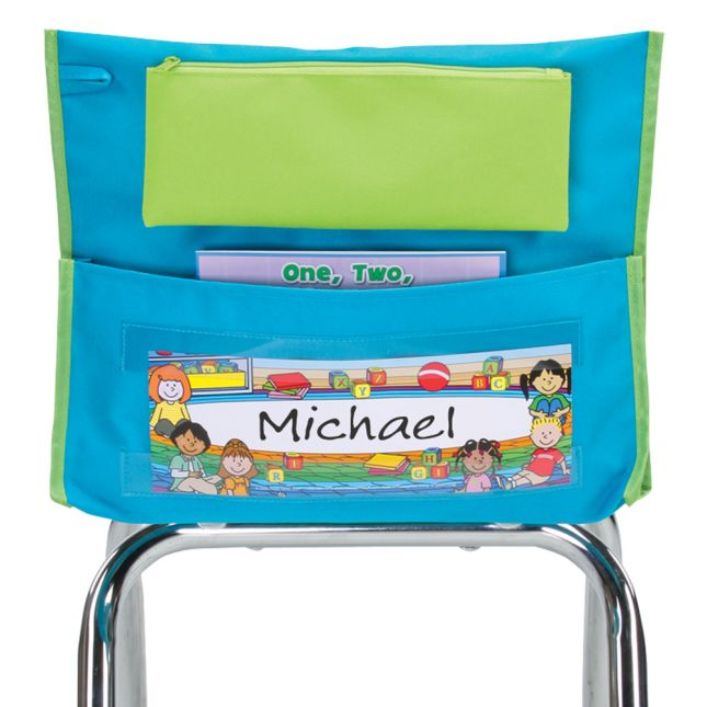 Early Childhood Deluxe Chair Pockets with Pencil Case - 36 Pack - Turquoise/ Lime