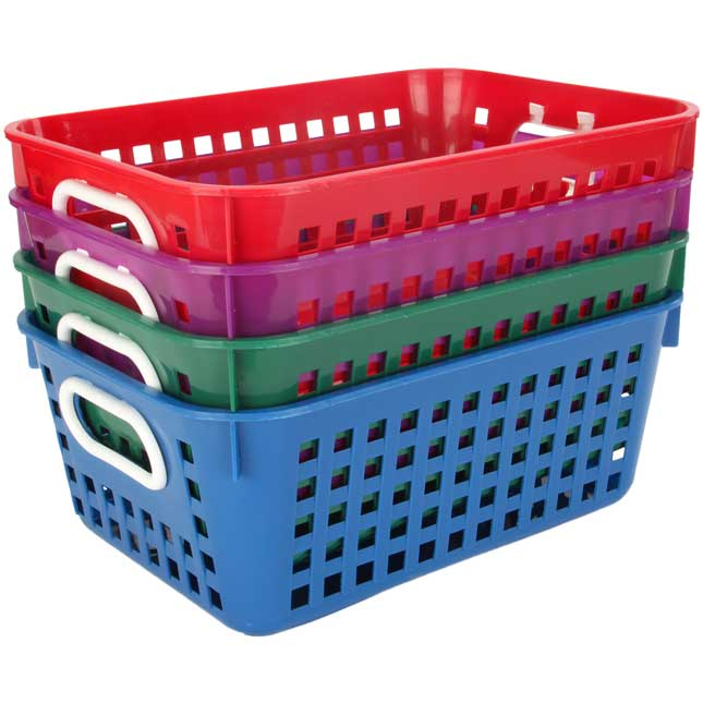 Book Baskets, Medium Rectangle - Royal Colors - 4 baskets