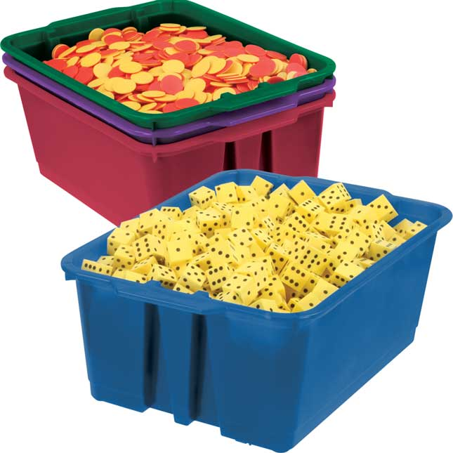 Classroom Stacking Bins - Royal Colors - 4 bins