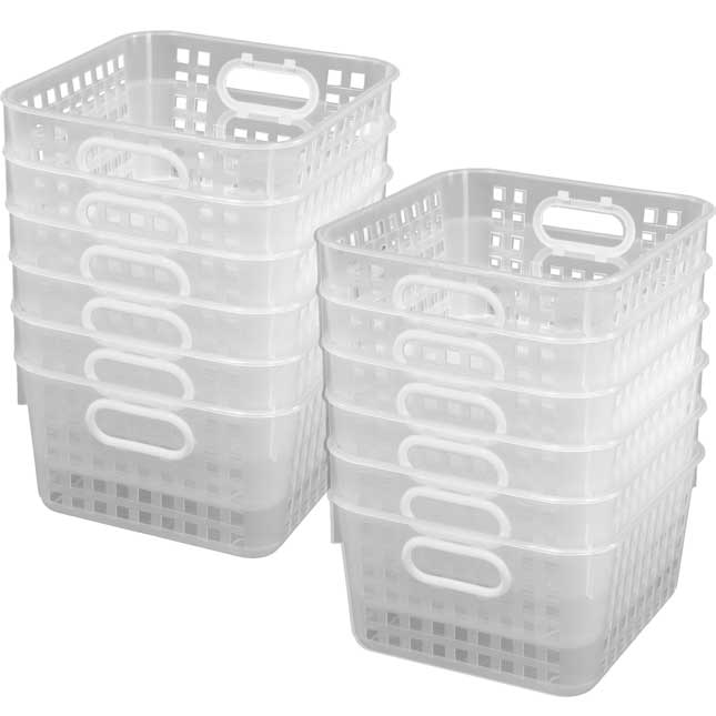 Book Baskets, Square Clear - 12 baskets