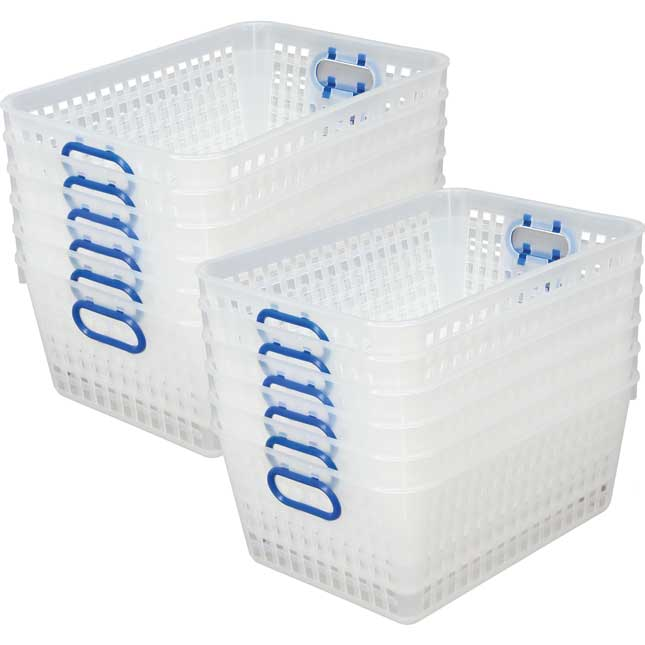 Book Baskets, Large Rectangle Clear