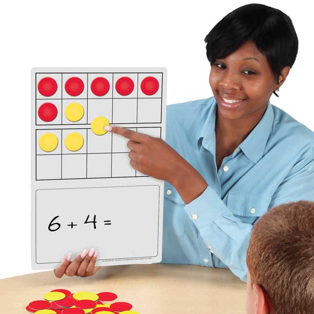 Magnetic Double Ten-Frame Dry Erase Demonstration Board Kit - Deluxe - 7 dry erase boards, 50 magnets