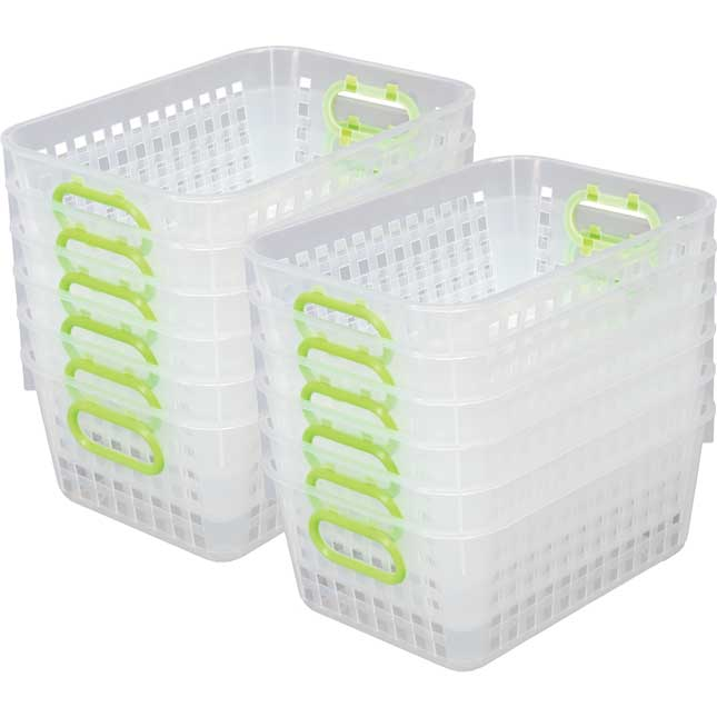 Book Baskets, Medium Rectangle Clear