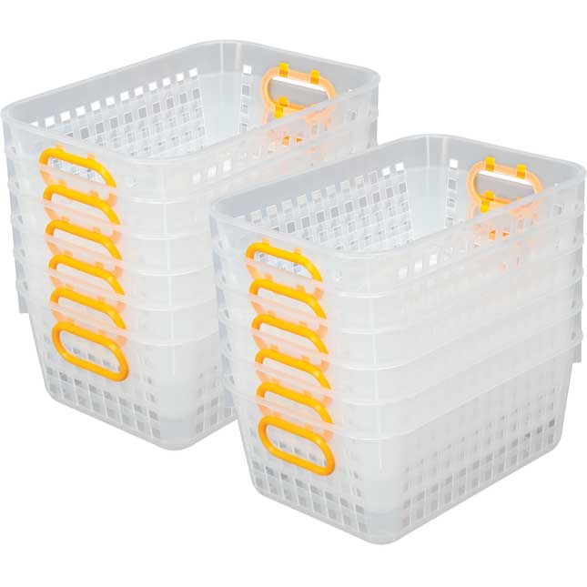 Book Baskets, Medium Rectangle Clear