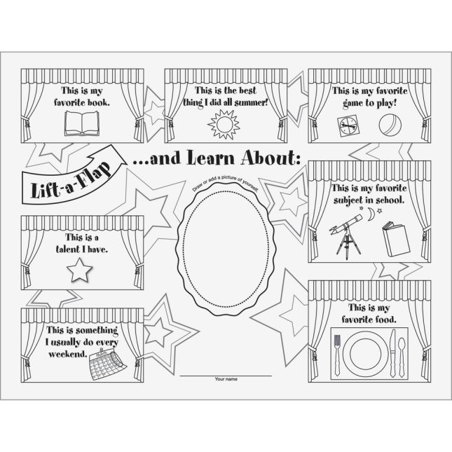 Ready-To-Decorate® About Me Lift-A-Flaps - 24 lift-a-flaps