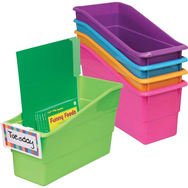 Durable Book And Binder Holders With Universal Label Holders - 5-Pack Neon